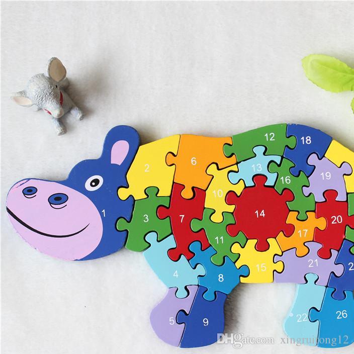Großhandel Weihnachten Kinder Geschenke Tier Puzzle Kinder Baby Holz