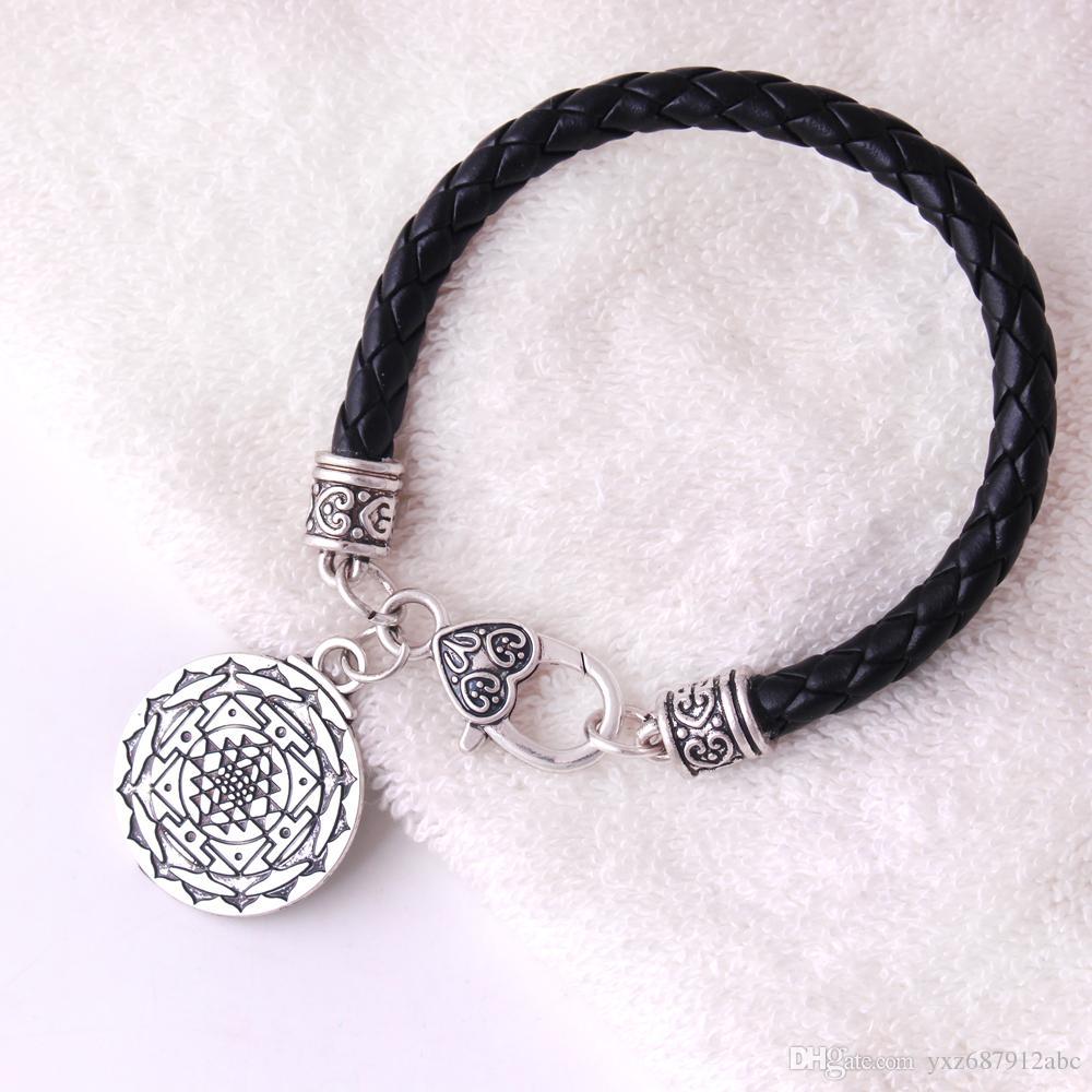 البرتغال ماندالا شاكرا 3 العين الهندوسية آلهة اليوغا سري يانترا الوكان باقان الشرير رجال جلدية سلسلة سوار مجوهرات الهند