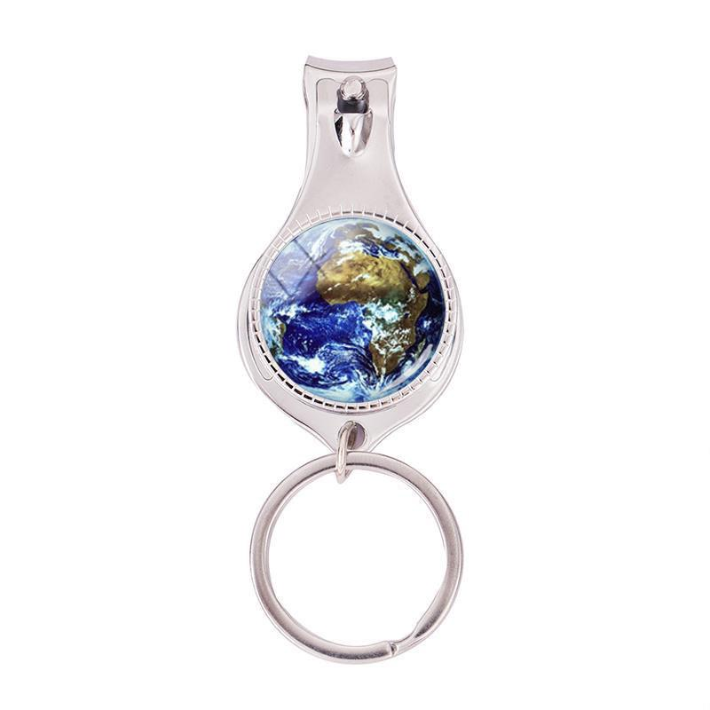 2020 Fashion World Map Multifunctional Keychain Rainbow Multicoloured Map Nail Clipper Keyring Handmade Jewelry Nail Clippers