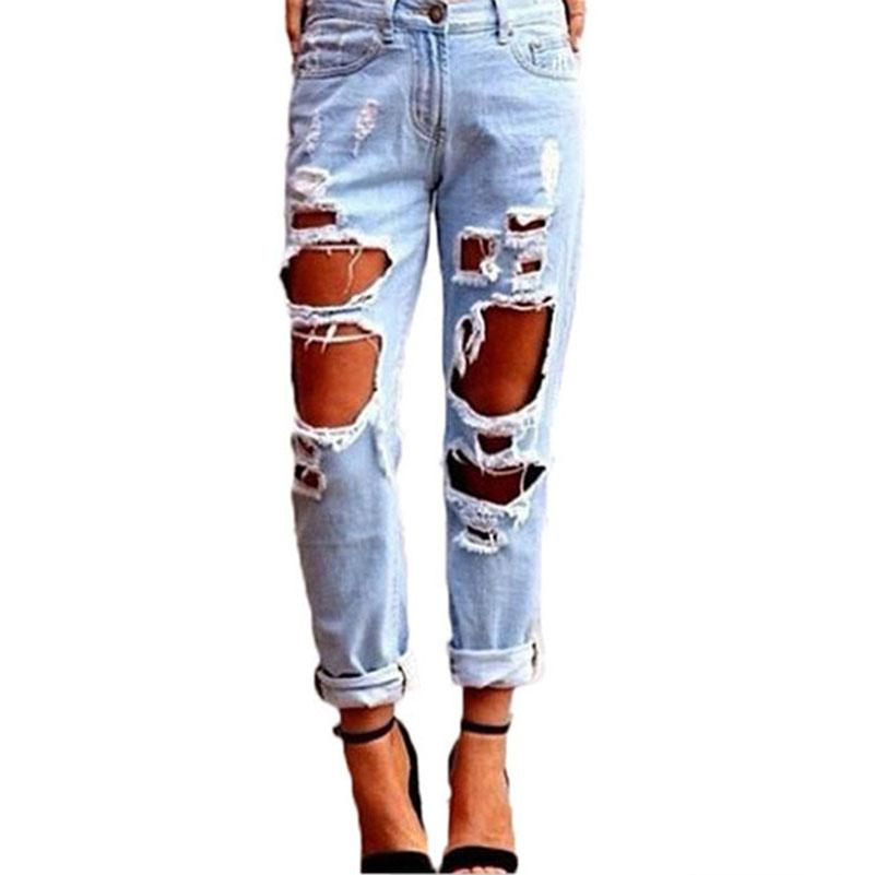 1803f1e8e0 Slim Hole Ripped Jeans for Women Mid Waist Denim Plus Size Fashion Pants  Blue 2017 Casual Design Ladies Pencil Trousers 15 Jeans Jeans for Woman  Hole Jeans ...