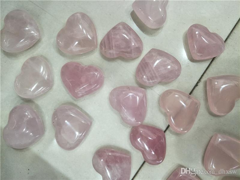10 pièces rose cristal de quartz rose coeur cristaux de guérison faisant des bijoux faisant cadeau de retour de mariage des cristaux de guérison