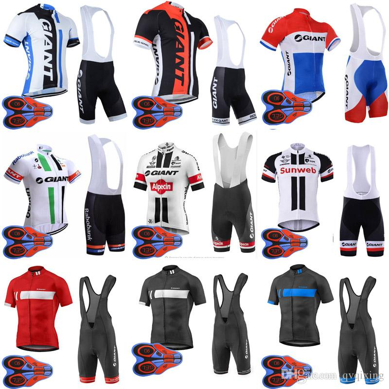 dd9957b11 GIANT Team Cycling Short Sleeves Jersey Bib Shorts Sets Tour De France  Racing Men Bicycle Clothing Summer Mtb Bike Ropa Ciclismo E2506 Cycling  Outfit Baggy ...