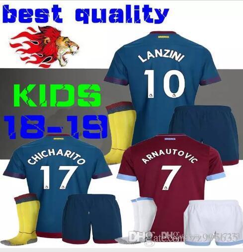 229591c1b9e89 Compre 18 19 West Ham United Camisetas De Fútbol Para Niños Inicio Diop  Arnautovic Fanderson Wilshere Away Chile Yarmolenko Chicharito 2018 Boy  Jersey ...