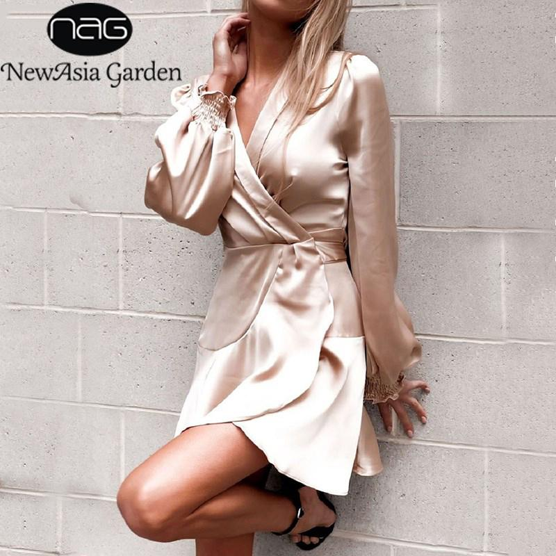 dbec390f2bc35b Großhandel Großhandel Winter Kleid Langarm Blazer Kleid Sexy Frauen Mini  Satin Kleid Elegante Herbst Damen Kleider Solid Vestido Neu Von Meinuo004,  ...