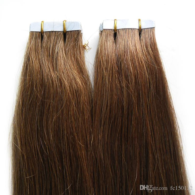 #6 Medium Brown virgin hair Brazilian Tape In Human Hair Extensions Straight 100g skin weft tape hair extensions 4b 4c