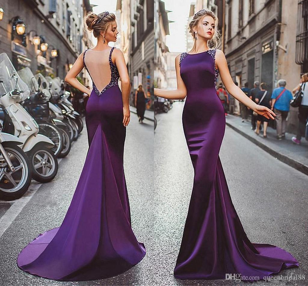 Elegant Long Mermaid Dresses Evening Wear 2018 New Jewel Neck Beaded  Illusion Back Sexy Prom Dress Sleeveless Vestidos De Novia Cheap Sexy  Evening Dresses ... 1d5cf858ac9e
