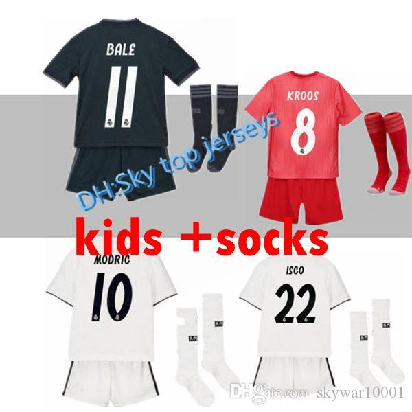 84594defcbe AAA+kids Kits Real Madrid Soccer Jersey 2018 2019 RONALDO MORATA ...