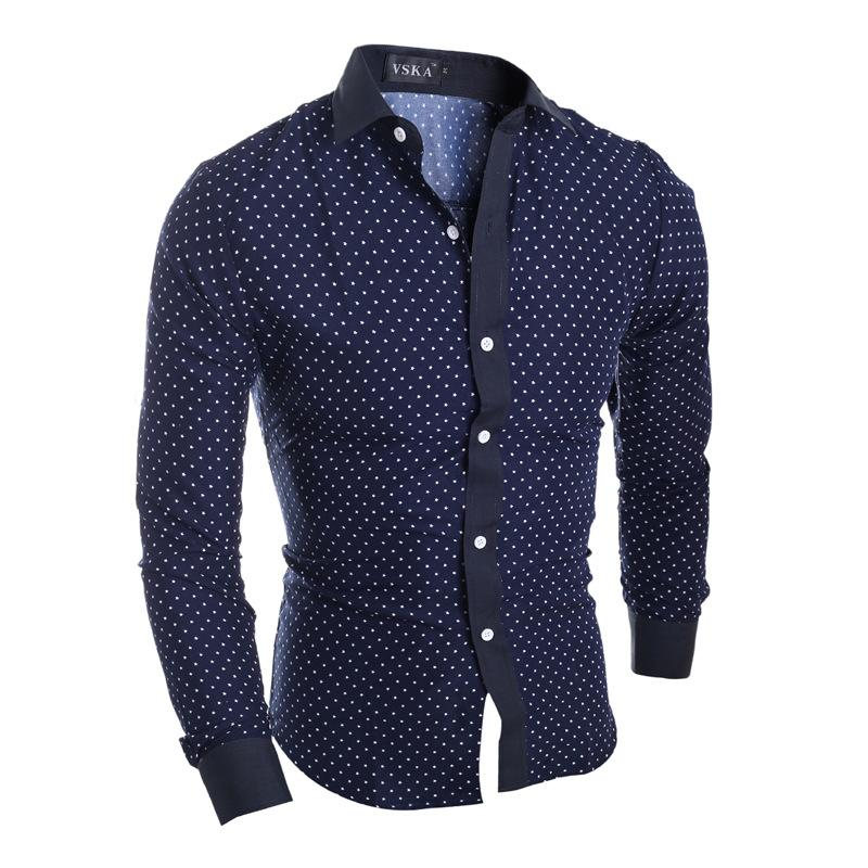 Print Men Shirt Fitted Dress Shirt Long Sleeve Camisa Masculina