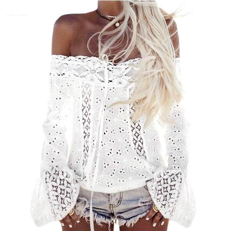 1bfb84565 Boho Top Off camisa de hombro mujer blanco blusa de encaje 2018 Hippie Chic  ropa verano playa túnica Chemise Femme Blusas Feminina