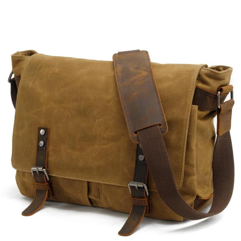 f76addaa39 Men Wax Oil Canvas Shoulder Bag Male Vintage Messenger Bags Casual Shoulder Bag  Crossbody Bags Men S Handbags Camo Purses Cross Body Purse From Penbake