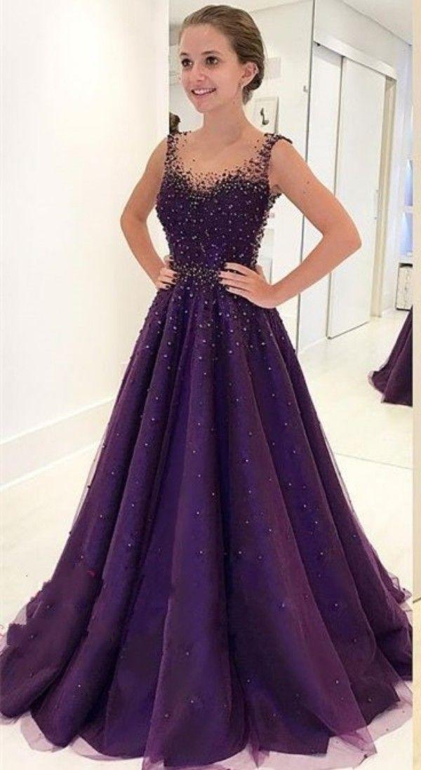 Precioso Grape A Line piso de longitud vestidos de baile sin mangas con cuentas de cristal Sheer tul vestidos de noche con espalda abierta