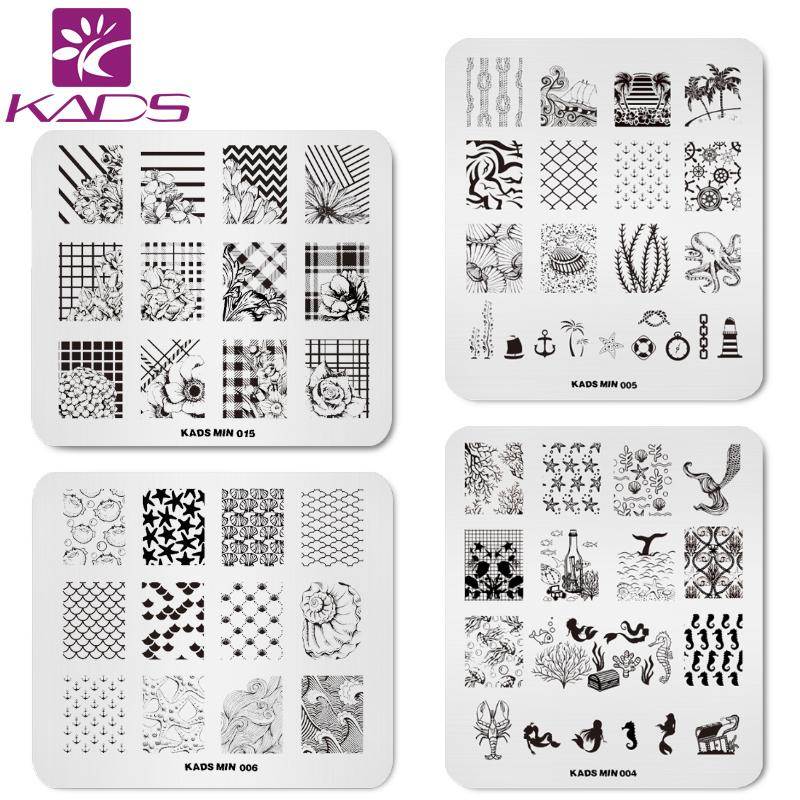 KADS 4pcs/set Dreamy Oecan Mermaid Nail Stamping Plates Set Flower Nail Art Design Tools Bundle For Stamping Art