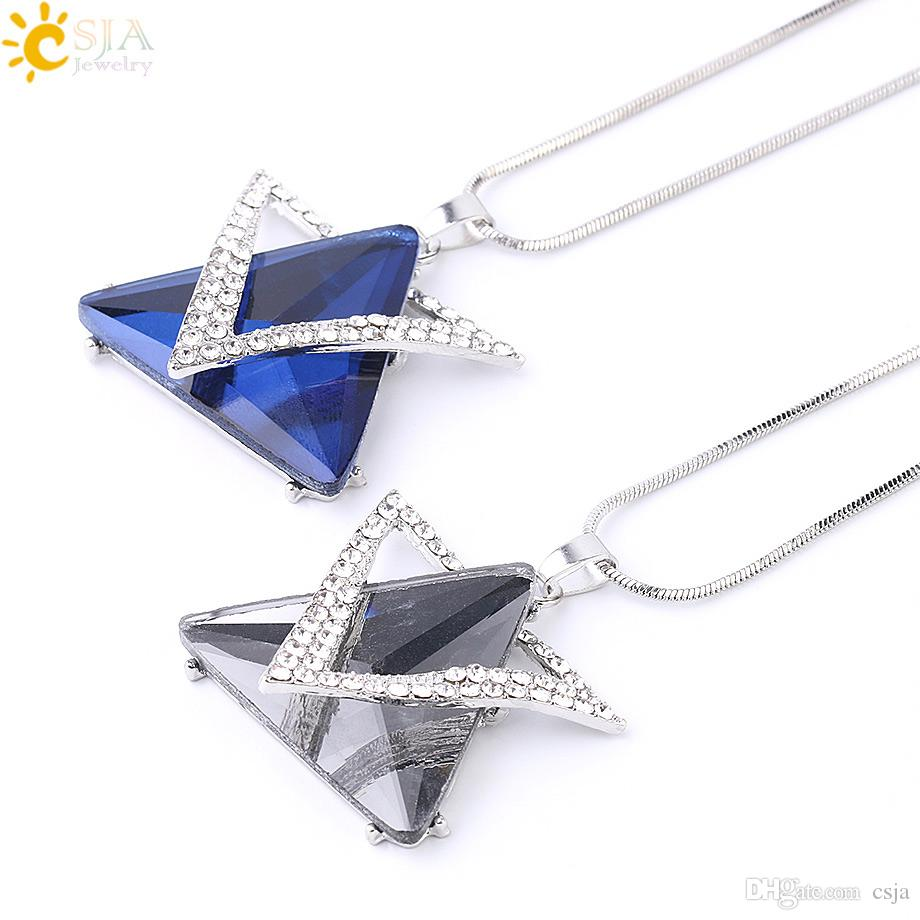 CSJA Hexagram Drop Pendant Necklaces Hexagon Mogen David Bling Crystal Long Necklace for Women Dress Sweater Coat Rhinestone Jewelry S219