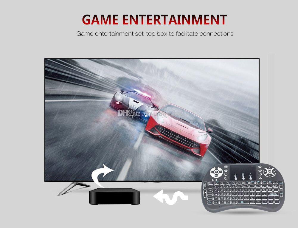 لوحة المفاتيح اللاسلكية البسيطة I8 الخلفية 2.4GHZ ل3 لون لوحة اللمس يده لالروبوت TV BOX محمول لعبة الخلفية C0068 الإنجليزية الروسية