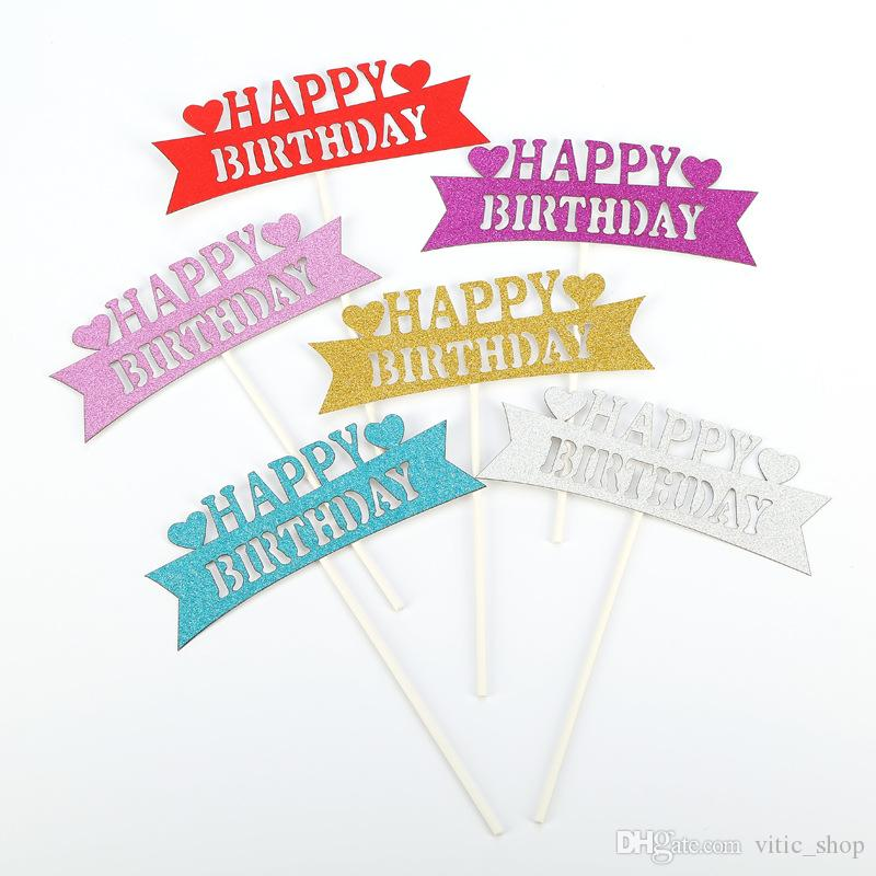 Happy Birthday Card Colorful Cake Topper Insert 14CM Party Flag Love Desserts Decoration Baking Supply 30th Themes 40th