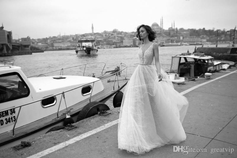 Liz Martinez 2019 Beach A Line Abiti da sposa Tulle Backless Lace Appliqued Abiti da sposa Scollo a V Boho Abito da sposa