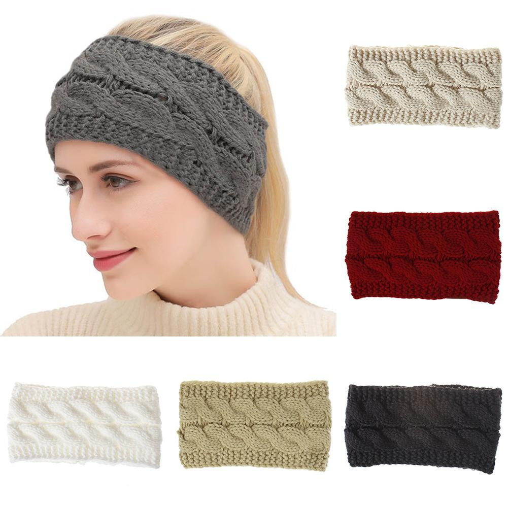 Winter New Fashion Solid Wool Warm Elastic Hair Band Headwrap For Lady  Women Head Bands Knitting Headwraps Hair Accessories Bows Hair Accessories  ... 6e79448ee67