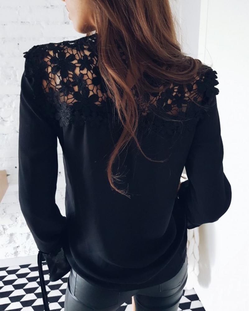 2018 été nouvelle mode dentelle tops occasionnels col rond manches longues en mousseline de soie chemisier élégant manches évasées lâche chemises