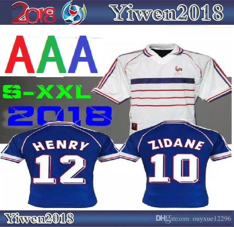 0314d1d1dfdaa Compre 1998 RETRO VINTAGE ZIDANE HENRY MAILLOT DE FOOT Tailandia Camisetas  De Fútbol De Calidad Uniformes Camiseta De Fútbol Camisa Blanca Lejos  Finales A ...