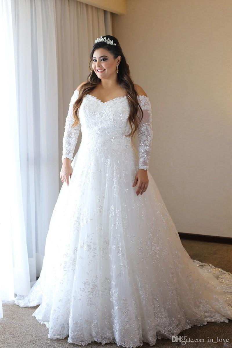Long Sleeve Plus Size Wedding Dresses Off Shoulder Sparkly Sequined  Appliques Lace A Line See Through Back Bridal Gowns Custom Size