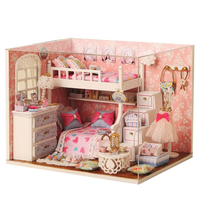 christmas gift romantic pink doll house furniture miniatura diy doll