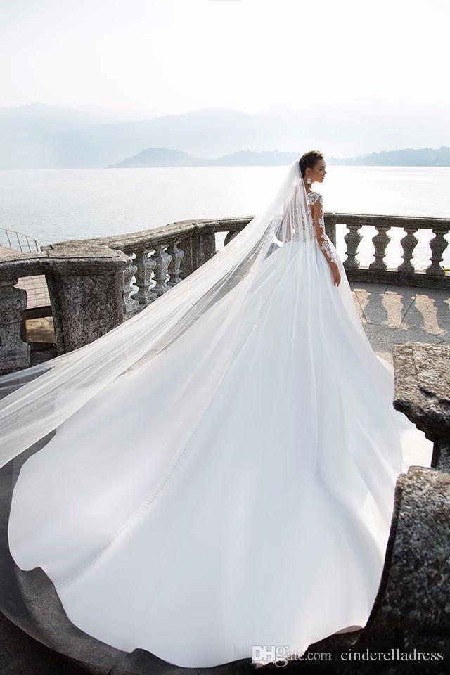 Milla Nova Sheer с длинным рукавом свадебные платья 2021 кнопки назад кружевные аппликации атласные шариковые платья свадебные платья пляж свадебные платья BA4502