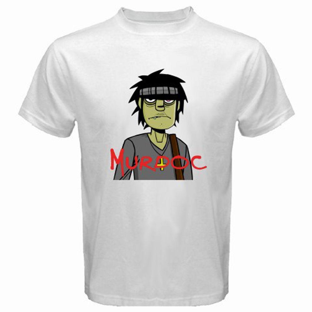New Murdoc Gorillaz Rock Band Icon Men s White T-Shirt Size S to 3XL