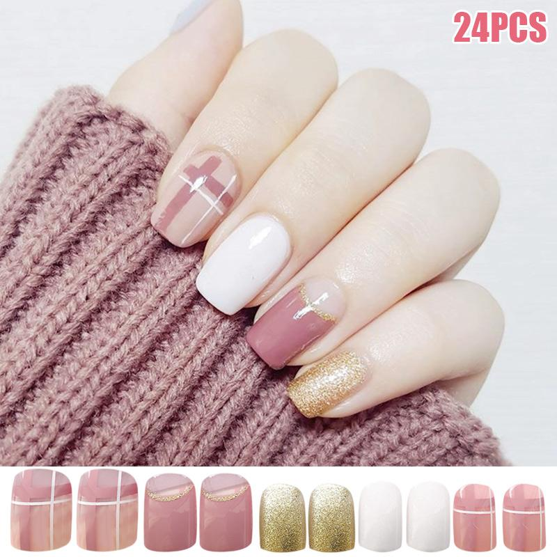 Elegant Pink White Gold Nail Art Stickers French Style Waterproof