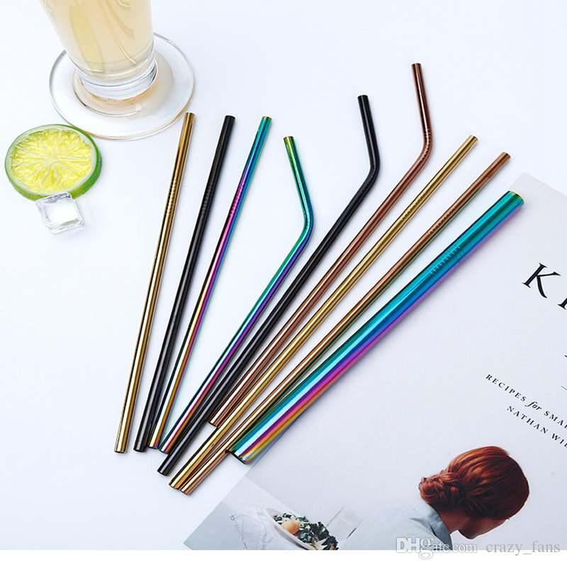 Colorful Stainless Steel Drinking Straw Bent Straight Reusable Straws For Coffee Mason Jars Smoothies Eco Friendly Straws Bar Drinking Tool
