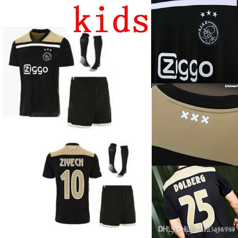 325b7ae18 2019 Ajax Kids Blacker Soccer Jersey 18 19 Ajax FC Soccer Jerseys Away Shirt  2018 Customized  10 KLAASSEN  34 NOURI Football Uniform From Qy1984