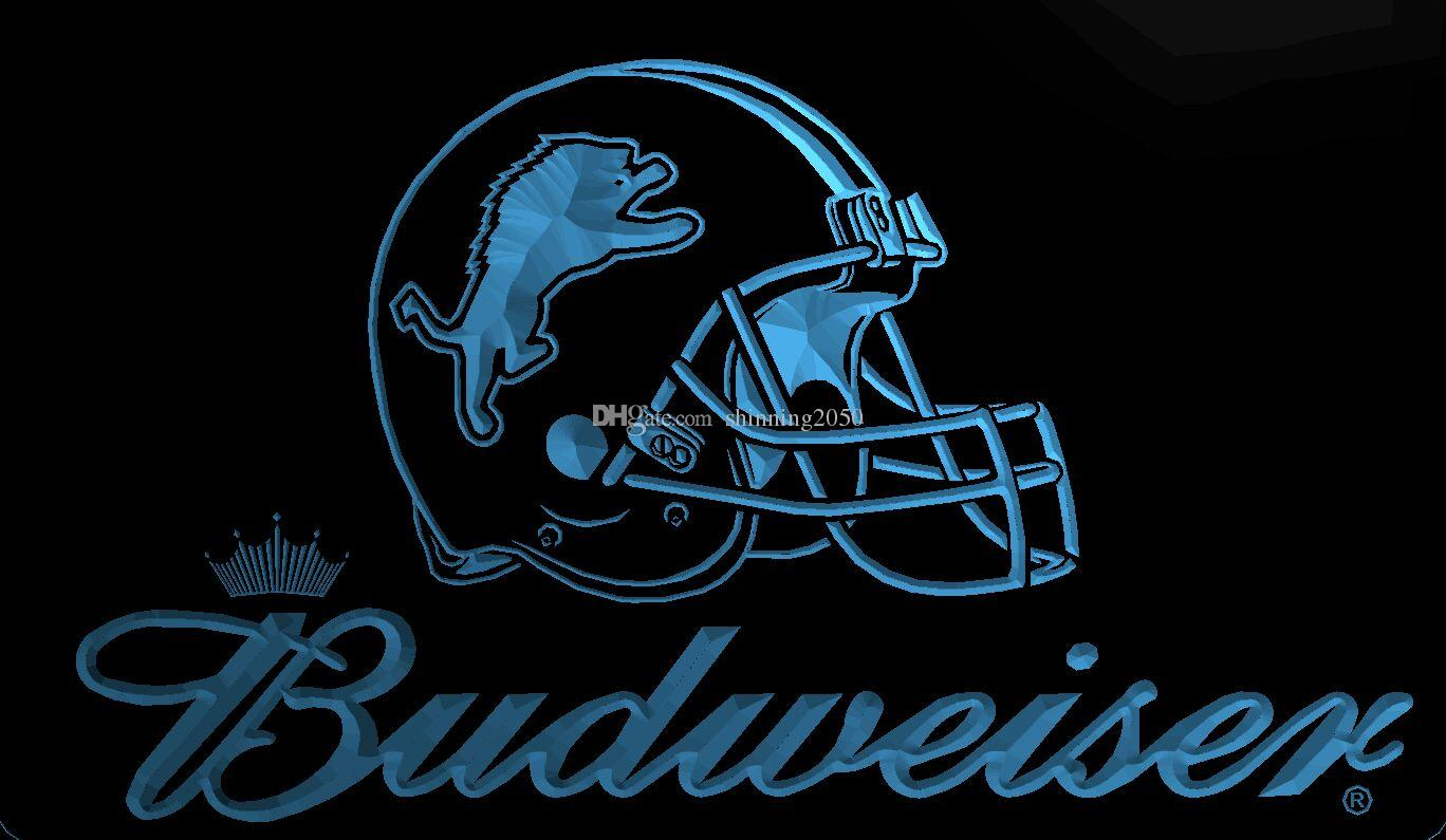 c7a1a314 LS1994-b-Detroit-Lions-Helmet-Budweisers-Bar-Neon-LED-Light-Sign Decor Free  Shipping Dropshipping Wholesale 6 colors to choose