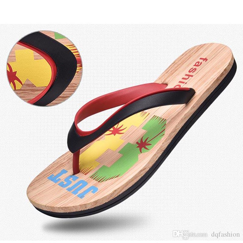 eb0e93c3fdc261 Wood Grain Men S Non Slip Leisure Flip Flops Summer Wear Resistant Pinch  Flat 2018 Europe And The United States Beach Shoes Trend Men Womens Cowboy  Boots ...