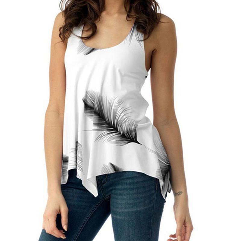 1141ccb98bfaeb 2019 Bohemian Casual Women Tank Top Streetwear Leaves Print Round Neck Boho  New 2019 Summer Tops Shirt Sleeveless Vest From Jamie05