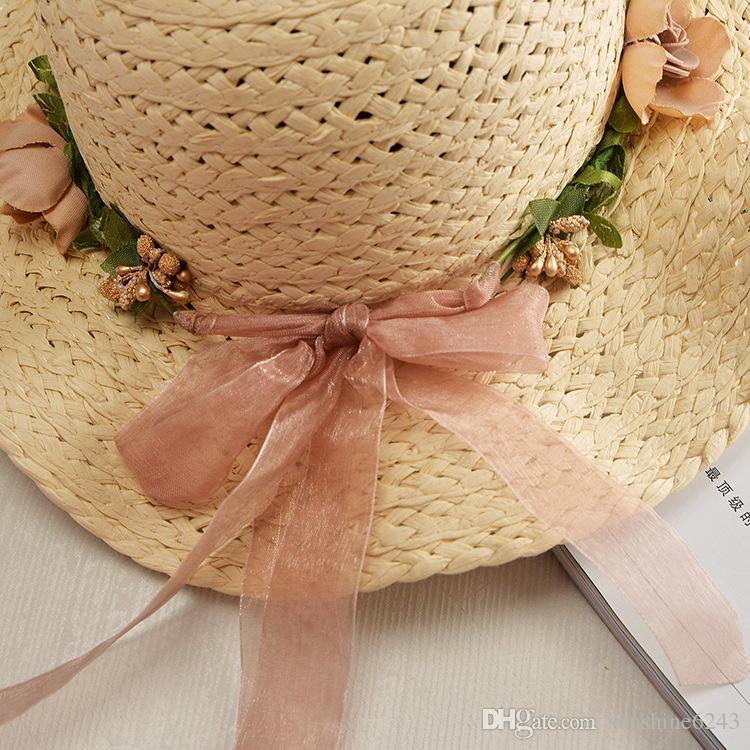 Designer Children Wide Brimmed Straw Beach Flower Bohemia Bucket Hats Kids Foldable Summer Sun Visors UV Protect Girl Honey Fishing Cap Gift