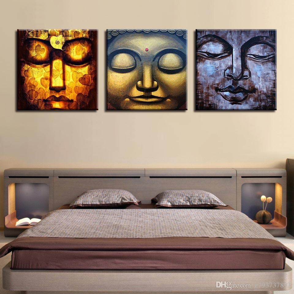 Großhandel Leinwand Hd Prints Bilder Rahmen Wand Kunst Wohnkultur 3 Stücke  Abstrakte Buddha Gesicht Gemälde Buddhistisches Poster Für Wohnzimmer Von  ...