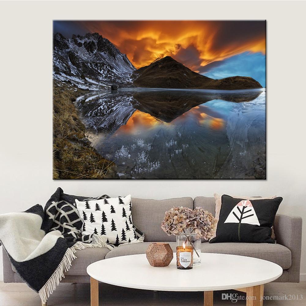 Tela HD Poster Poster Home Decor 1 pezzo / Pz Tramonto Montagne e fiumi Paesaggio dipinti Camera Wall Art Pictures Quadro