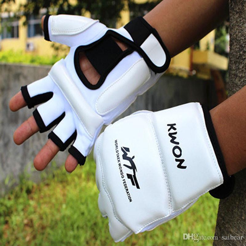 Kids Adult Half Finger Fight Boxing Gloves Mitts Sanda Karate Sandbag Protector for MMA Muay Thai Kick Boxing Training White