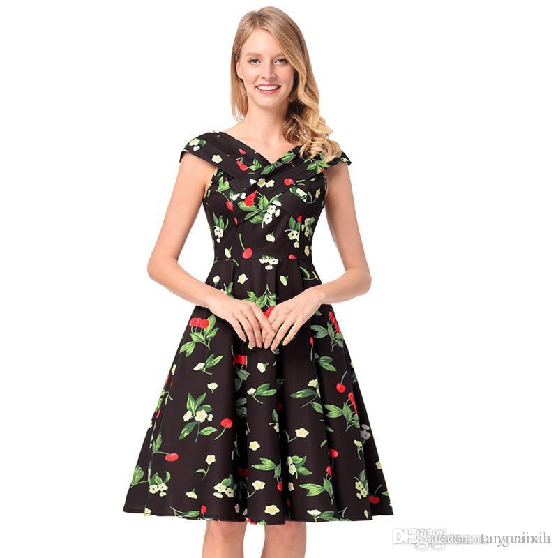 Wholesale Summer Women Cherry Fancy Print Ladies Office A Line Mini Dress  Large Size 2XL Buy Dress Evening Cocktail Dresses From Tangcaixia ab8e289c8ca8