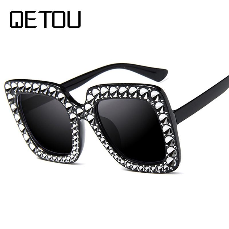 47a441a278bff QETOU Fashion Oversized Diamond Sunglasses Women Square Frame Rhinestone  Crystal Sun Glasses Luxury Vintage Sunglass Shades Spitfire Sunglasses  Native ...