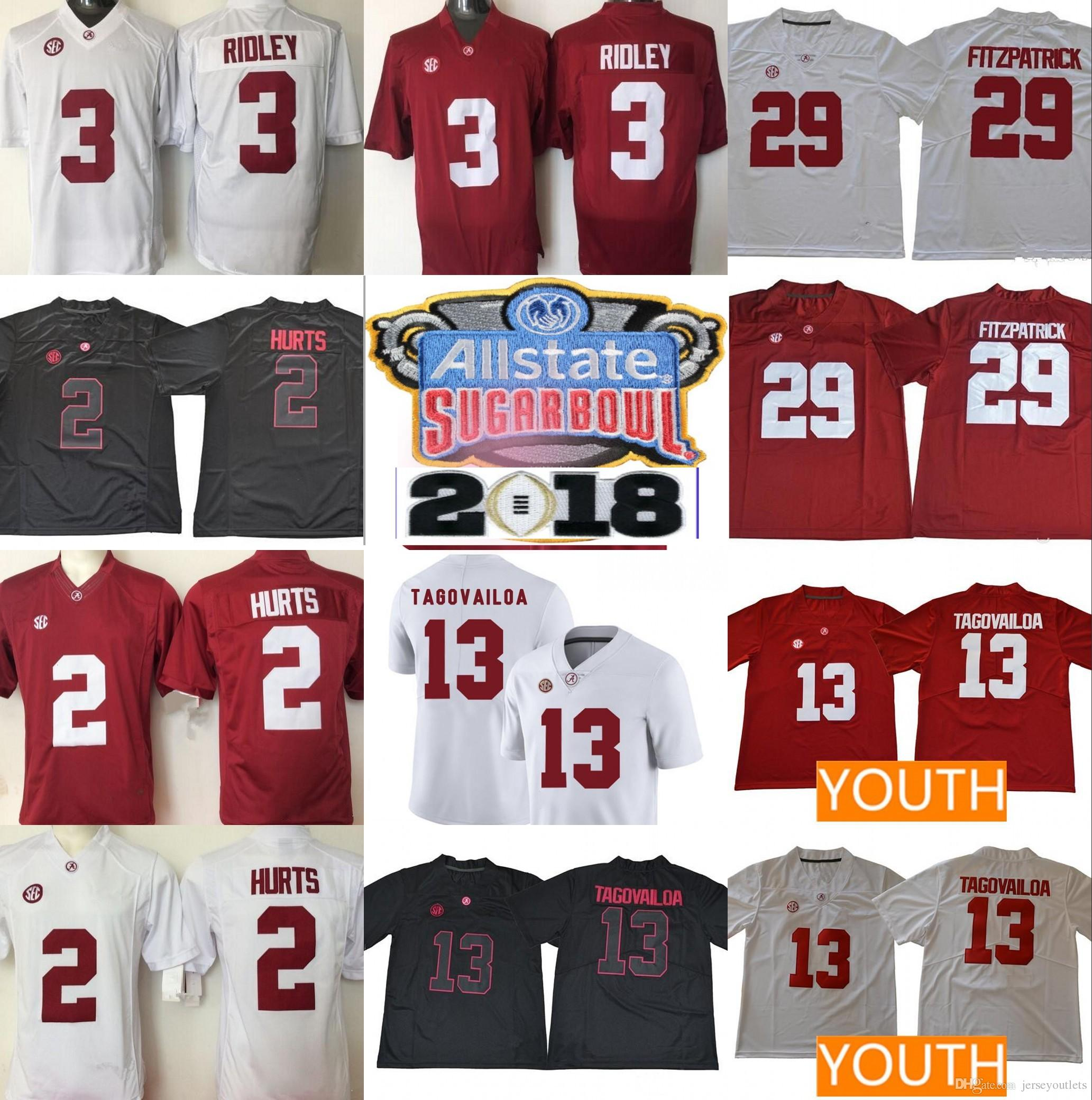2019 NCAA Alabama Crimson Tide  13 Tua Tagovailoa 2 Jalen Hurts  3 Ridley  29 Fitzpatrick 9 Scarbrough Red White 2018 Championship Football Jersey  From ... 99abd928d