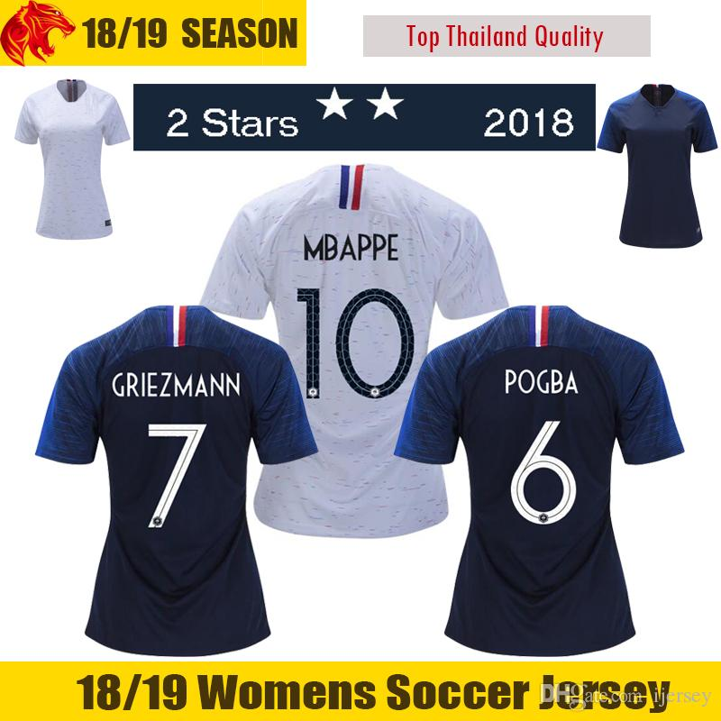 5ce97e5a70 Compre 18 19 Camisas De Futebol França Feminina 2018 2019 2 Estrelas França  Camisas De Futebol MBAPPE Feminina DEMBELE França Camisa De Futebol  GRIEZMANN ...