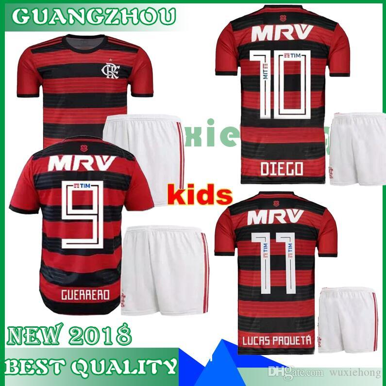 Compre 18 19 Camisa Flamengo 2018 2019 Flamencos Guerrero Diego Vinicius Jr  Camisas De Futebol Flamengo Casa Rojo Negro Fútbol Meninos Kit Camis De ... 035adf93ebb42