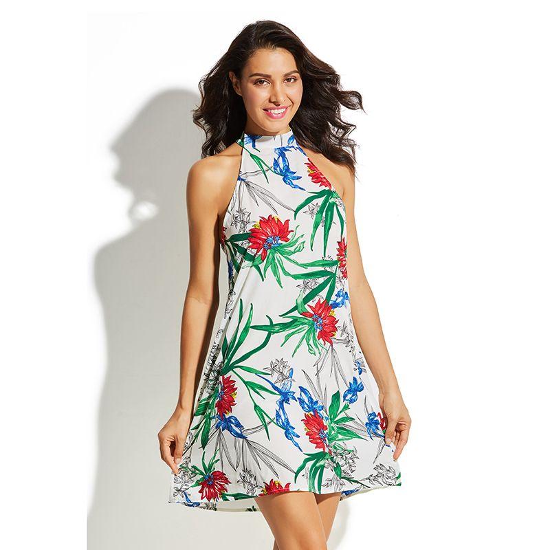 77d1ce98d1f Summer Halter Dress For Women Sexy Sleeveless Floral Print Beach Vacation  Vestidos 2019 New Fashion Boho Causal Mini Dresses Black Strapless Dress  White ...
