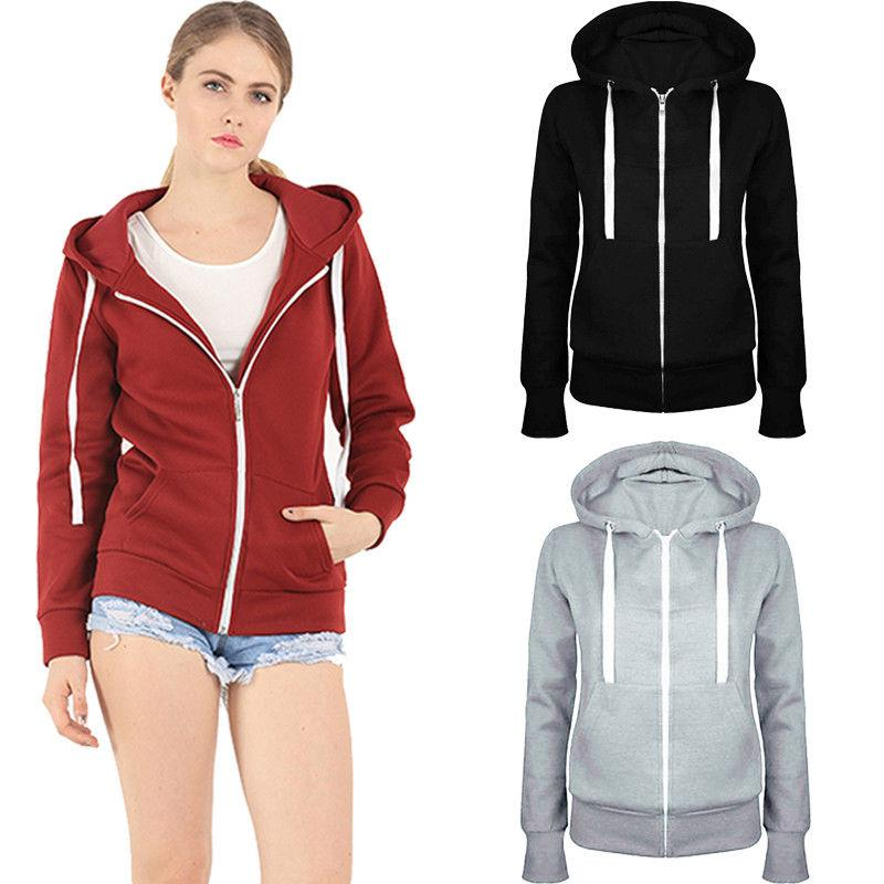 826e5f370 2019 Women Ladies Plain Zip Up Hoodies Women Hooded Long Sleeves Sweatshirt Coat  Jacket Top Hoodies Blouse From Feixianke, $39.7   DHgate.Com