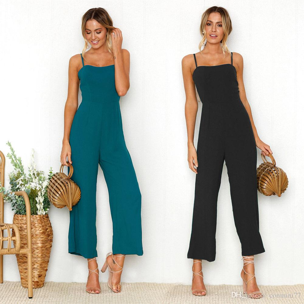 e3693743dc8a2 Women's Jumpsuits & Rompers 2018 summer European and American hot style  sexy Condole belt jumpsuits trousers women's clothing