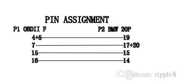 16PIN에 BMW 20PIN를위한 새로운 OBD2 접합기는 BMW 20P BMW 20 P 연결 관 케이블을 위해 케이블을 연결한다