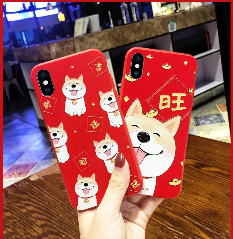 New Year's red festive anti-fall couple mobile phone case for Apple X 6 7 8 plus Cover Case