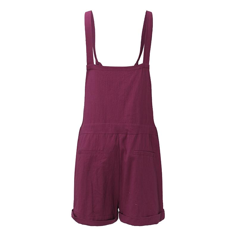 ZANZEA 2018 New Summer Rompers Womens Jumpsuits Casual Pockets Loose Short Playsuits Solid Strap Overalls Plus Size S-5XL