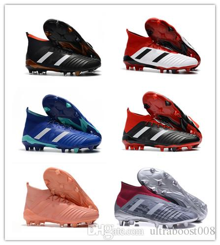 8178ad94b906 2018 Mens Women High Ankle Football Shoes Youth Kids Predator 18+ FG ...