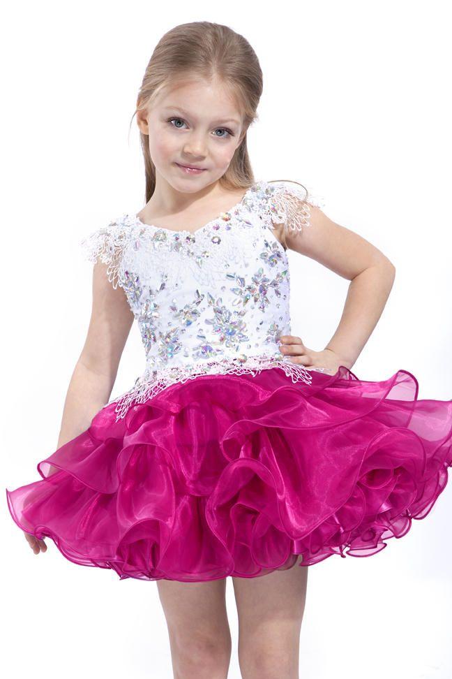 ab1cb26a1 Sweet Purple Fuchsia Beads Short Mini Flower Girl Dresses Girls  Pageant  Dresses Holiday Party Birthday Dress Custom Size 2-14 DF723598